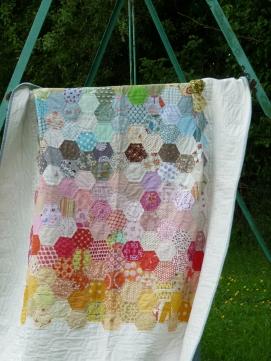 Stash Hexi Rainbow Quilt