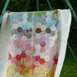 Stash Hexi Rainbow Quilt